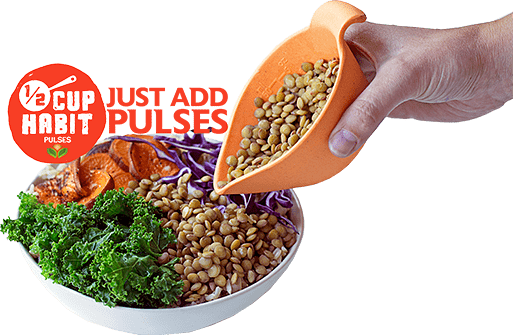 Bowl of healthy food with a half-cup of pulses