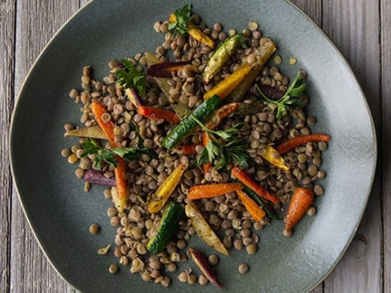 Lentils with Roast Vegetables