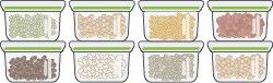 A collection of small sealable containers full of cooked pulses