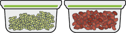 Two sealable containers with pulses