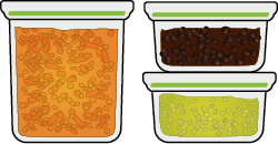 Three sealable containers with soups, chilis and curries