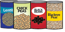 Four cans of pulses