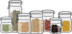 A collection of dry pulses in jars