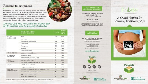 Folate Brochure - Reasons to Eat Pulses (Page 1)