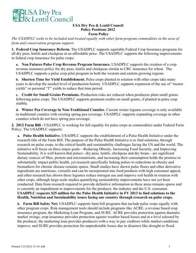 2012 Farm Policy