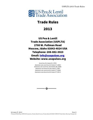 2013 USPLTA Trade Rules
